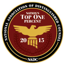 "Top One Percent 2015 The National Association of Distinguished Counsel is an organization dedicated to promoting the highest standards of legal excellence. The mission of the NADC is to objectively recognize the attorneys who elevate the standards of the Bar and provide a benchmark for other lawyers to emulate. By virtue of the incredible selectivity of our research process, only the elite few are invited to join the ranks of the NADC. Specifically, less than 1% of practicing attorneys in the United States are members of the ""Nation's Top Attorneys"". The recipients of this prestigious award have demonstrated the highest ideals of the legal profession."