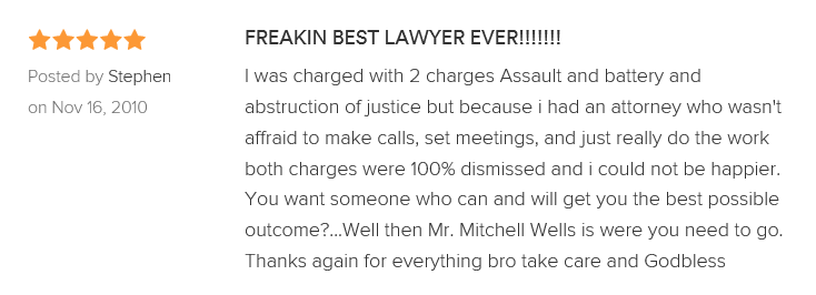 FREAKIN BEST LAWYER EVER!!!!!!! 5.0 stars Posted by Stephen on Nov 16, 2010 I was charged with 2 charges Assault and battery and abstruction of justice but because i had an attorney who wasn't affraid to make calls, set meetings, and just really do the work both charges were 100% dismissed and i could not be happier. You want someone who can and will get you the best possible outcome?...Well then Mr. Mitchell Wells is were you need to go. Thanks again for everything bro take care and Godbless