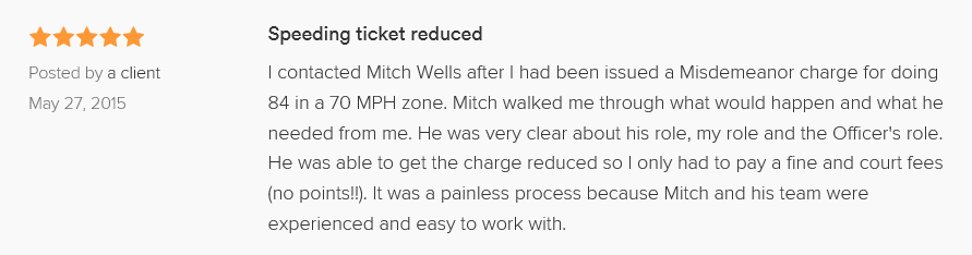 Speeding ticket reduced 5.0 stars Posted by a client May 27, 2015 I contacted Mitch Wells after I had been issued a Misdemeanor charge for doing 84 in a 70 MPH zone. Mitch walked me through what would happen and what he needed from me. He was very clear about his role, my role and the Officer's role. He was able to get the charge reduced so I only had to pay a fine and court fees (no points!!). It was a painless process because Mitch and his team were experienced and easy to work with.