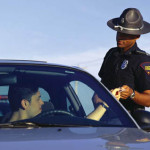 a prince george state trooper issues a speeding ticket to a motorist on interstate 95 in prince george county va