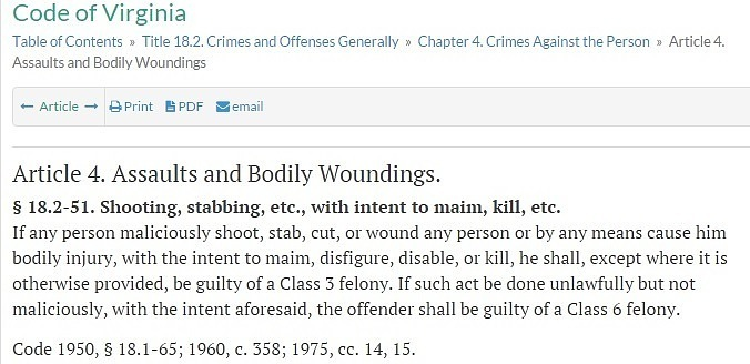Virginia law on assault and bodily woundings