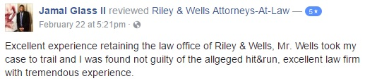 Excellent experience retaining the law office of Riley & Wells, Mr. Wells took my case to trail and I was found not guilty of the allgeged hit&run, excellent law firm with tremendous experience.