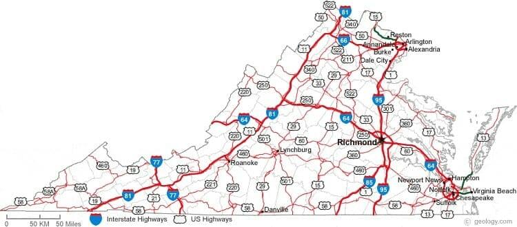 Map of Virginia Primary Interstates & Major U.S. Highways
